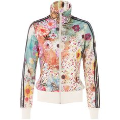Adidas Originals Floral Print Zip Front Jacket ($78) ❤ liked on Polyvore featuring outerwear, jackets, white floral jacket, fitted jacket, logo jackets, white jacket and adidas originals