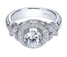 Get up close and personal with this gorgeous Amavida Diamond Engagement Ring by Gabriel & Co. This intriguing style and design has many flawless and impeccable details all throughout this beauty! Check out more shots and information about this specific ring at www.gabrielny.com