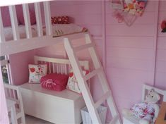 Colour scheme Childrens Wooden Playhouse, Girls Playhouse, Garden Playhouse, Build A Playhouse, Playhouse Ideas, Painted Playhouse, Kids Den, Kids Room, Playhouse Interior