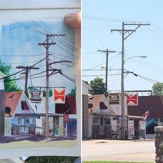 Out Painting today. #watercolor #gouache #pleinair #quincyil