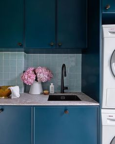Blue Laundry with Caesarstone and Black Schock Sink