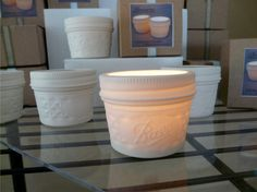 Ceramic Mason Jar candles. I just might die!