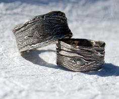 Wedding rings Tree Bark Wide 1/2 in SET Tree knot Fine Silver His and Hers Ecofriendly by codysanantonio on Etsy https://www.etsy.com/listing/200278304/wedding-rings-tree-bark-wide-12-in-set