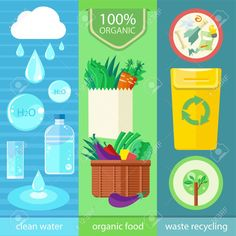 Clean water, organic food and waste recycling. Set of nature and organic icons in flat design, bio and environment concept on banners
