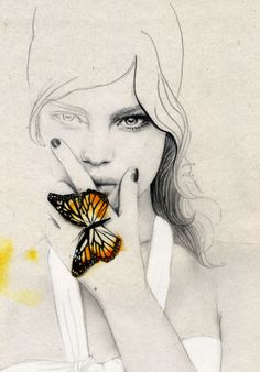 simple sketch, butterfly + girl