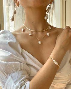 Keshi Pearl Gold Filled Necklace, Boho Wedding Jewelry, Boho Pearl Necklace, Freshwater Pearl Necklace, Bridal Jewelry Pearl Choker - new season bijouterie Cute Jewelry, Boho Jewelry, Bridal Jewelry, Jewelry Design, Fashion Jewelry, Jewellery, Pearl Wedding Jewelry, Fashion Fashion, Jewelry Ideas