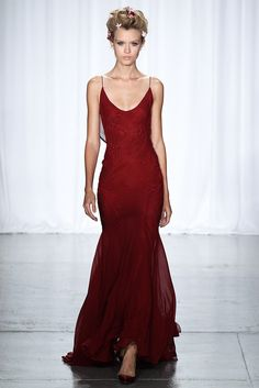 Deep red thin strap dress. Zac Posen, Ready-to-Wear Spring 2014 #NYFW Photo: Marcus Tondo