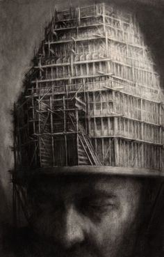 Paul Rumsey, Head with Scaffolding Tower, Charcoal, 106 x 68 cms Landscape Artwork, Fantasy Landscape, Grand Duc, Visual Metaphor, Arte Cyberpunk, Tower Of Babel, Ap Art, Surreal Art, Les Oeuvres