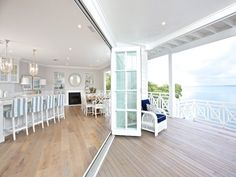 18 Sleath Street Ormiston Qld 4160 designed by Verandah House - love the bi-fold french doors - October 12 2019 at Beach Cottage Style, Beach House Decor, Home Decor, Coastal Style, House On The Beach, Coastal Decor, Küchen Design, Home Design, Dream Beach Houses