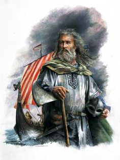 Depiction of Viking chief on the Isle of Man