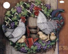 Ceramic Bisque Rooster Hen Wreath Ready for You to Paint | eBay