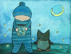 Kids Wall Art Woodland Nursery Original Illustration by andralynn, $60.00
