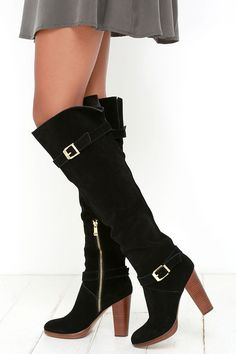 Report Signature Lipton Black Suede Leather Over the Knee Boots