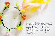 Crepe paper floral crown.
