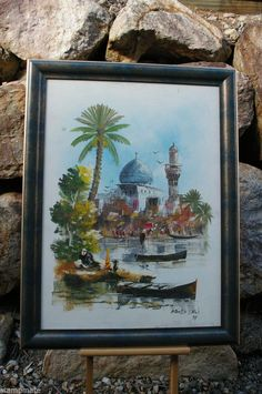 AMAZING IRAQ PEACEFUL BAGHDAD OIL PAINTING ON CANVAS FRAMED A DALI PAINTING 2000
