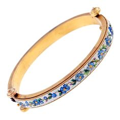 Antique 'Day and Night' Double-Sided Micro-Mosaic Gold Bangle; Italy,   1880