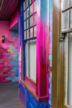 Close up of an abstract painted window, with pops of neon pink and blue. The paint covers the bricks and window frames, creating one giant outdoor canvas. Home Decor Furniture, Diy Home Decor, Exterior Design, Interior And Exterior, Brick Wall Background, Creative Jobs, Decoration Inspiration, Creative Portfolio, Dream Decor