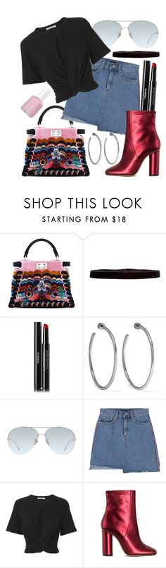 """""""Untitled #646"""" by hadar777 ❤ liked on Polyvore featuring Fendi, Steve Madden, Chanel, Jennifer Fisher, Linda Farrow, T By Alexander Wang, Jill Stuart and Essie"""