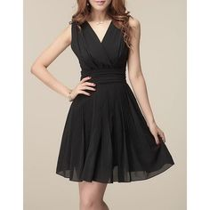 Wholesale Ladylike Plunging Neck Ruffled Solid Color Sleeveless Chiffon Women's Dress Only $11.62 Drop Shipping | TrendsGal.com