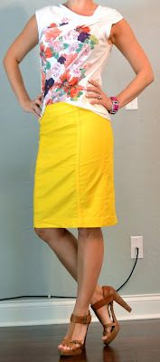 Outfit Posts: outfit post: white floral shirt, yellow pencil skirt