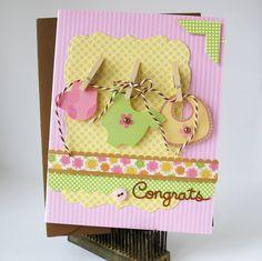 A Doodlebug Baby Congrats card by Kathy Martin. Baby Shower Cards, Baby Cards, Baby Scrapbook, Scrapbook Cards, Ideas Prácticas, Card Ideas, Gift Ideas, Baby Shower Invitaciones, Congratulations Baby
