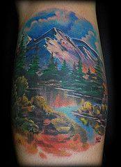 bob ross (Mez Love) Tags: sanfrancisco mountain lake tree clouds landscape tattoos bobross happylittletrees happylittleclouds mezlove tattooboogaloo