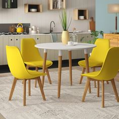 Rinan Dining Set With 4 Chairs Hashtag Home Colour (Chair): Yellow Blue Dining Tables, Yellow Dining Room, Kitchen Table Chairs, Yellow Kitchen Decor, Kitchen Table Makeover, Round Dining Table, Dining Set, Small Kitchen Diner, Kitchen Ideas