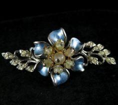 Elegant Vintage Silvertone Enamel and Faux Pearl Brooch Signed Florenza | eBay