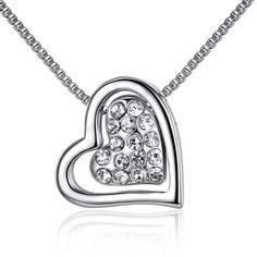 Precio de la oferta EUR 20,39GoSparking cristal claro del oro blanco 18K de la aleación de doble collar del corazón con el cristal austríaco para las mujeres