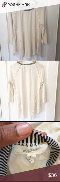 """❄️Cream Blouse w/ Black/White Stripped Trim In Great Condition/ Winter Sale Item! Make a reasonable offer & I will accept ❄️⭐️❄️ Laying Flat Bust: 18.5"""" Length: 29.5"""" Tops Blouses"""