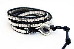 Leather wrap bracelet with miyuki silver cube beads and silver plated button. Triple wrap leather bracelet. Beaded bracelet. WGC3v006. $42.00, via Etsy.
