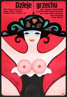 """Polish poster by Jerzy Flisak, 1975, """"Dzieje Grzechu"""" (Story of Sin) by Walerian Borowczyk."""
