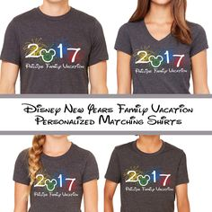 eed753a48 Disneyland New Year Family Vacation Matching Tees - 2017 Fireworks with  Mickey Personalized - Disney Holiday