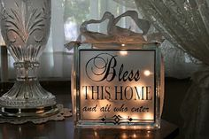 Bless this Home lighted glass block made by Aubrey Beckwith (Around the Block) Decorative Glass Blocks, Lighted Glass Blocks, Glass Cube, Glass Boxes, Vinyl Crafts, Vinyl Projects, Wood Crafts, Stone Crafts, Glass Block Crafts