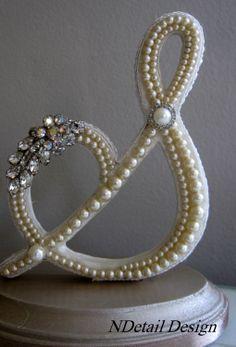 "Monogrammed Custom Vintage Pearl Wedding Cake Topper & Display: Antique Bridal Accessories ""417 Bride"". $105.99, via Etsy."