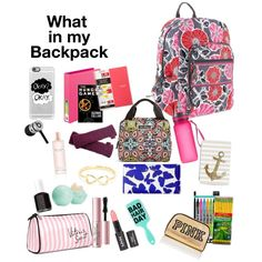 What's in my Backpack? by birtty001 on Polyvore featuring polyvore fashion style Kate Spade Vera Bradley Beats by Dr. Dre Casetify NOVICA Too Faced Cosmetics Victoria's Secret Eos Essie Pilot Dixon Ticonderoga Sweaty Betty