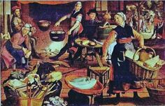 Detal from Dutch Kitchen, by Pieter Aertsen, Notice how short the skirt is of the women in the center of the frame -- working women could not afford to wear skirts that would get in the way and trip them up. Dutch Kitchen, Kitchen Art, Castle Series, Classic Image, Renaissance Clothing, Children's Book Illustration, Historian, Archaeology, Childrens Books