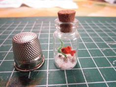 Micro crocet fish in bottle