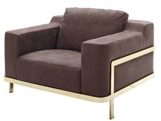 Upholstered leather armchair with armrests Odilon Collection by Nube Italia | design Marco Corti