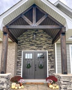 Front door colors with cedar craftsman style 64 Best Ideas Porch Beams, Front Porch Columns, Double Front Entry Doors, Craftsman Front Doors, Front Door Entrance, House Front Door, Front Door Colors, House With Porch, Stone Front House