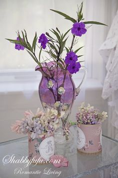 ❥ Lavender and purple florals~ beautiful pitcher!
