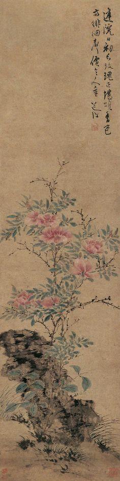 """陈淳 夏日玫瑰. Chén Chún(陳淳; 1483-1544) was born into a wealthy family of scholar-officials in Suzhou. He learned calligraphy from Wen Zhengming. He later broke with Wen to favor a more free-style method of """"ink and wash"""" paintings. He was associated with the Wu school of literary painting. Mi Fu of the Song Dynasty had a strong influence on his work. He did many landscapes, but to a degree is noted as a """"flower and bird"""" painter."""