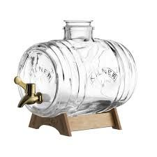 Kilner Glass Barrel Drink Dispenser, Vintage Design with Wooden Stand, Glass Stopper and Built-in Jigger, Leakproof Easy-Pour Spigot and Airtight Silicone Seal Kilner Drinks Dispenser, Glass Dispenser, Beehive Design, Fresh Shop, Cocktails, Brass Color, Serveware, Mixed Drinks, Messing