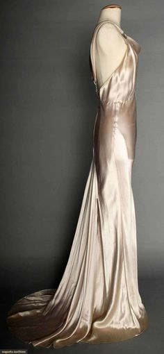 SILVER SATIN EVENING GOWN, 1930s Pale lavender/silver silk charmeuse, bias-cut, sleeveless, cowl neckline, open back, jeweled Deco elements on shoulder straps & at CB, floating trained back panel