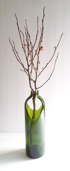 Wine Bottle Vase, upcycled, 10 inch, diamond cut, hand sanded to a satin finish