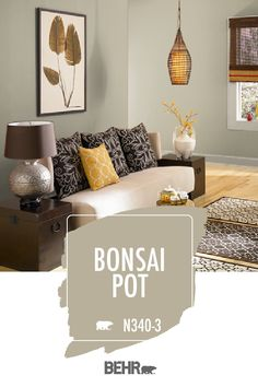 Channel your inner nature lover with this boho-chic living room. It starts with a new coat of BEHR® Paint in Bonsai Pot on the walls. Then, patterned throw pillows, a wicker light fixture, and wall art complete the look. Click below for full color details to learn more.