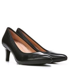 Black leather slightly-pointed toe low-heel pumps -- wear them every day!