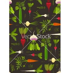 Root vegetables with leafy tops dark seamless vector. Garden pattern - by Popmarleo on VectorStock®