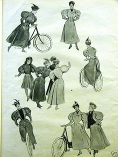 1890's Women Cycling -- Valentine DBV collection.  Possibly scan / blow up and wall graphic behind costume.  TBD