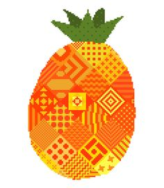 Patchwork pineapple. Contemporary cross by crossstitchtheline